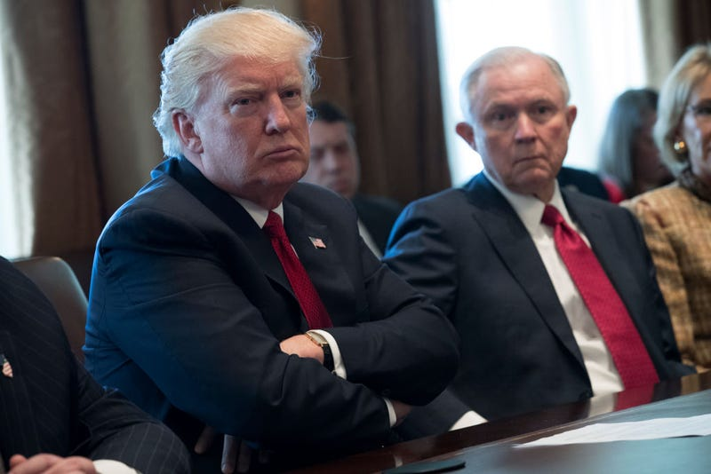 President Donald Trump and Attorney General Jeff Sessions at the White House on March 29, 2017 (Shawn Thew-Pool/Getty Images)