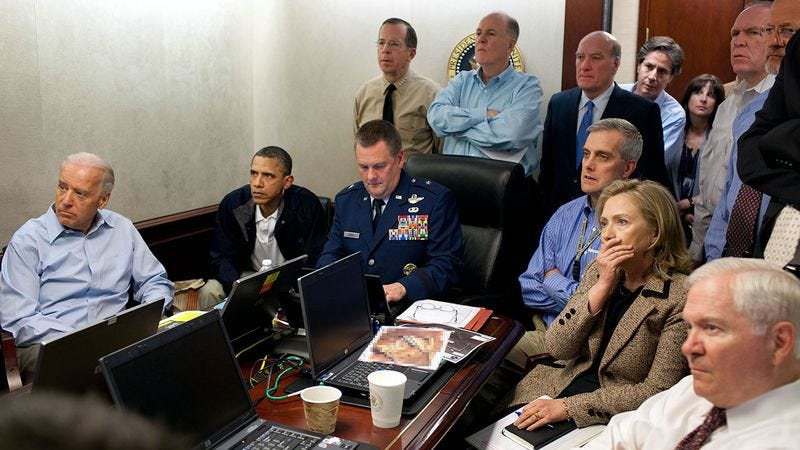 The situation room during the killing of Osama Bin Laden