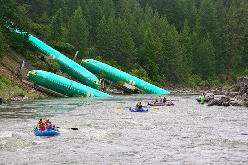 Illustration for article titled Three Boeing fuselages fell off a train into a Montana river
