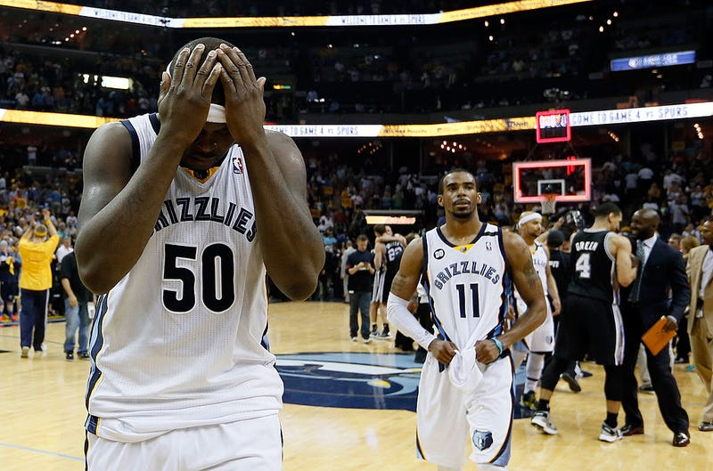 Zach Randolph, No. 50, and Mike Conley, No. 11, of the Memphis Grizzlies during Game 4 of the Western Conference finals of the  NBA playoffs at the FedExForum in Memphis, Tenn., on May 27, 2013