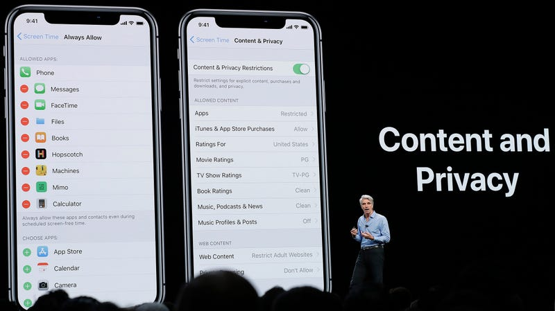 Craig Federighi, Apple's senior vice president of Software Engineering, speaks about content and privacy during an announcement of new products at the Apple Worldwide Developers Conference Monday, June 4, 2018, in San Jose, Calif.