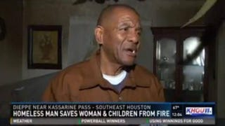 Thomas Smith, a homeless man, rescued a family Jan. 15, 2016, from their burning home in Houston.KHOU screenshot