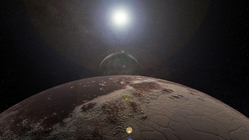 Representación artística del Sistema Plutón-Caronte