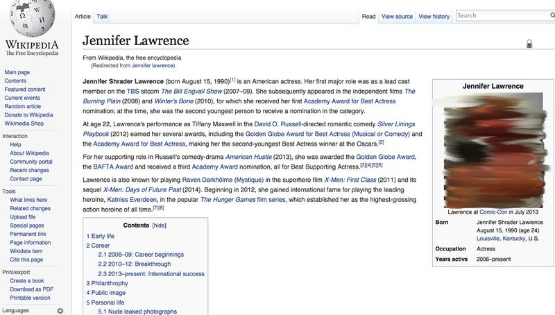 Illustration for article titled Jennifer Lawrence's Wikipedia Page Hacked to Feature Nude Photos