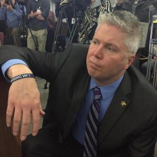"""Jeff Roorda of the St. Louis Police Officers' Associationwearing an """"I am Darren Wilson"""" braceletTwitter"""