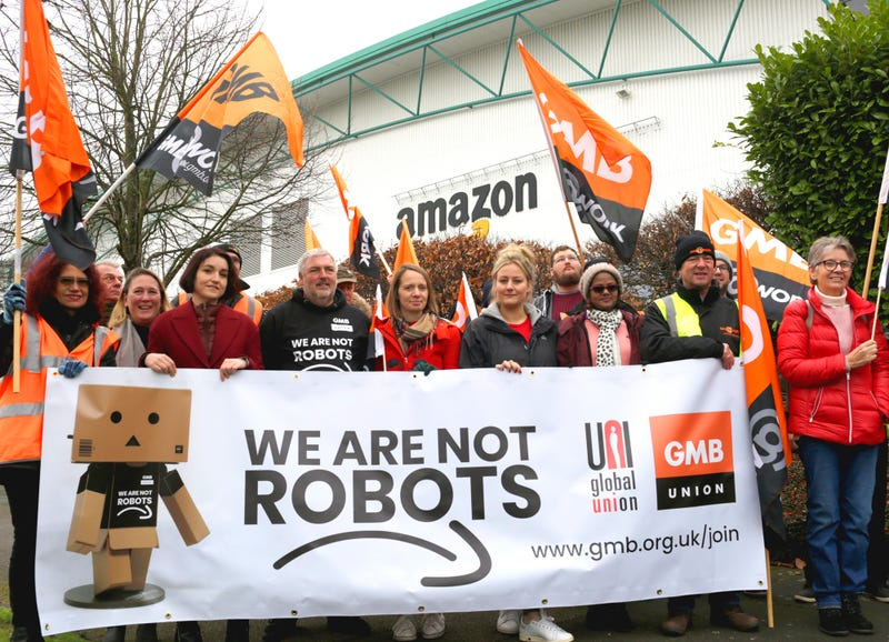 Amazon workers protest Black Friday in the UK.