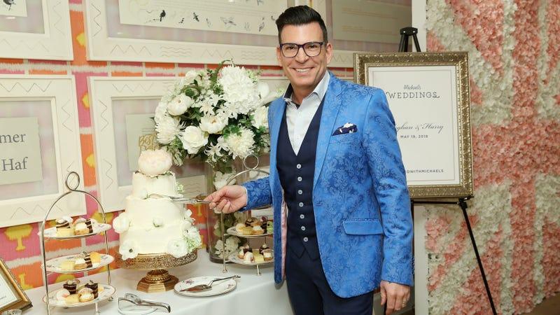 David Tutera at a royal wedding watch party by Michaels (perfect)