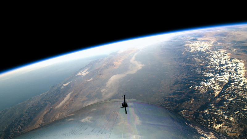 La vista desde la VSS Unity a una altura de 83 kilómetros. Imagen: Virgin Galactic