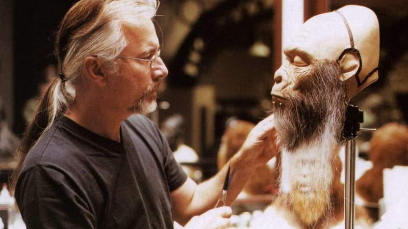 Rick Baker working on Tim Burton's Planet Of The Apes.