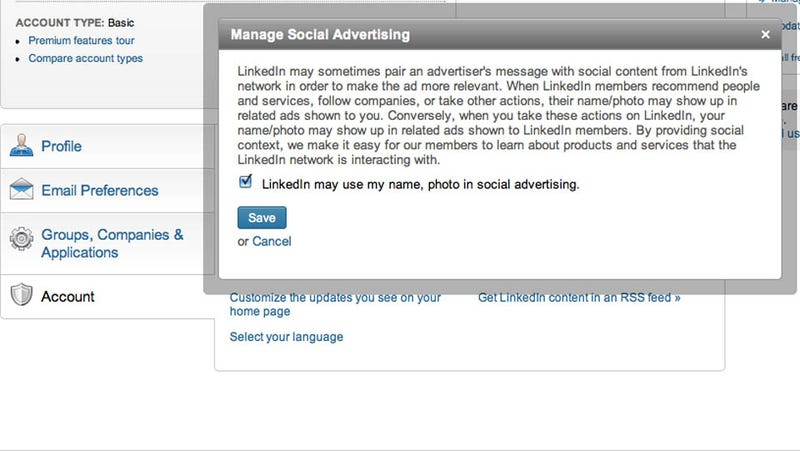 Illustration for article titled LinkedIn Goes Down the Facebook Route Of Using Your Image For Ads