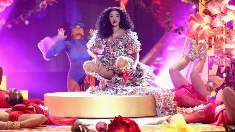 Cardi B performs onstage during the 2018 American Music Awards at Microsoft Theater on Oct. 9, 2018 in Los Angeles, California.