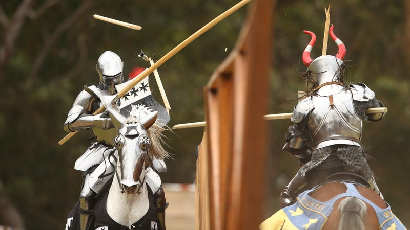 Not actually a Medieval Times but rather the inaugural World Jousting Championship at the St Ives Medieval Faire in Sydney, Australia. Photo: Getty.