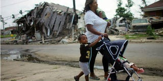A family in post-Katrina New Orleans (Mario Tama/Getty Images)