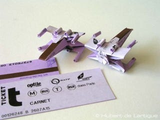 Illustration for article titled Parisian Metro Tickets Enlisted to Fight the Empire as Kirigami X-Wings