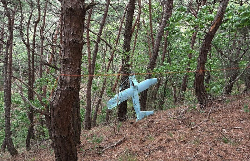 A suspected North Korean drone discovered on June 9, 2017 in a photo provided by South Korean Defense Ministry on Tuesday, June 13, 2017 (South Korean Defense Ministry via AP)