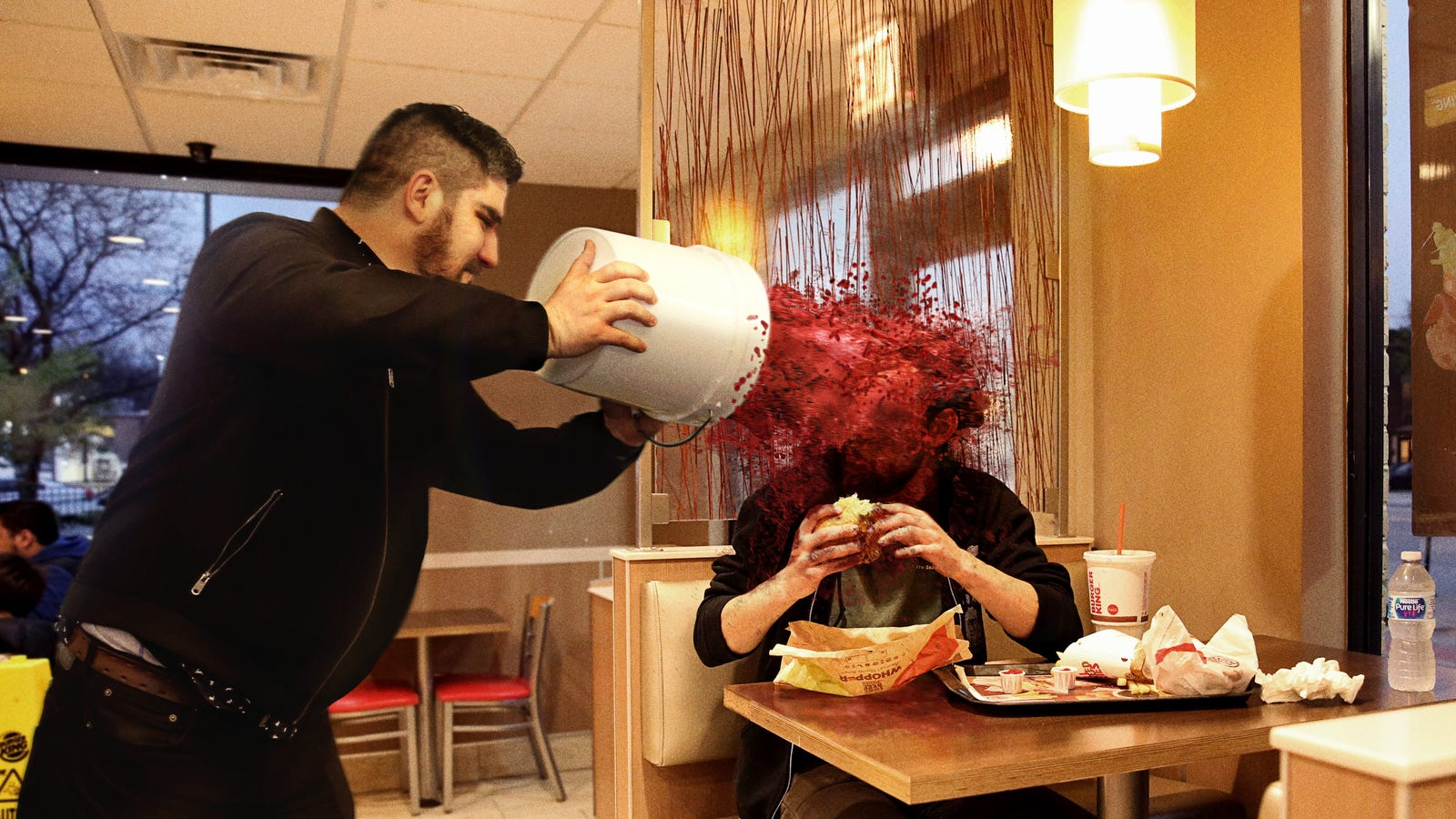 Diners Eating Impossible Burgers Doused With Beet Juice By Protesting Meat-Rights Activists