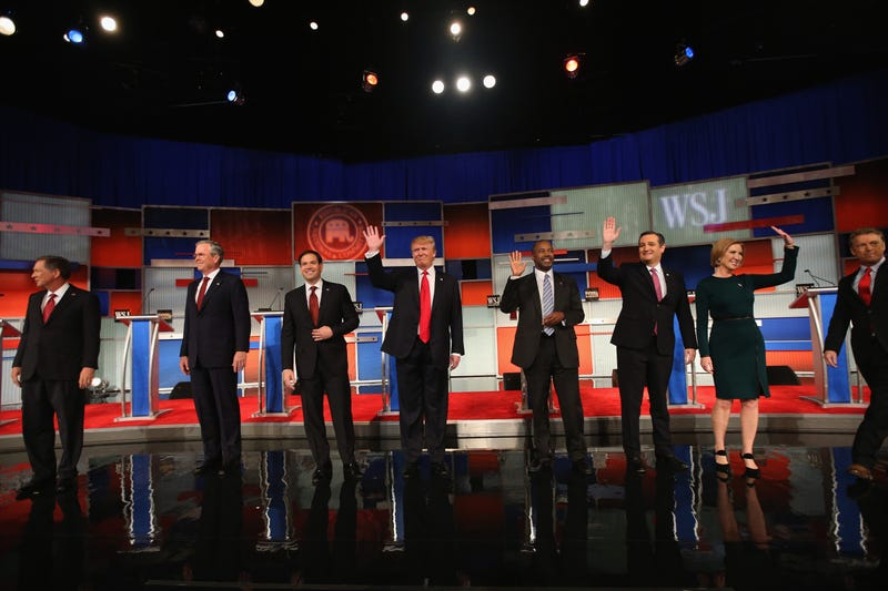 Presidential candidates John Kasich, Jeb Bush, Marco Rubio, Donald Trump, Ben Carson, Ted Cruz and Carly Fiorina take the stage in the Republican Presidential Debate at the Milwaukee Theatre on Nov. 10, 2015, in Milwaukee.