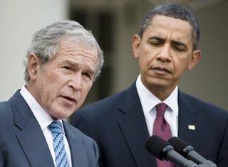 Presidents George W. Bush and Barack Obama (Brendan Smialowski/Getty)