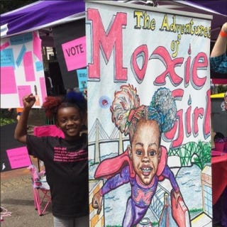 Natalie McGriff, 7, stands next to an image of her comic book,TheAdventures of Moxie Girl,which won over $16,000 at One Spark, a crowdfunding festival in Jacksonville, Fla. WBLS Screenshot