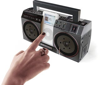 Illustration for article titled Flatpack Boombox MP3 Dock - Hand Not Included