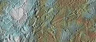 Illustration for article titled Europa's Icy Surface Looks Like Cracked Glass