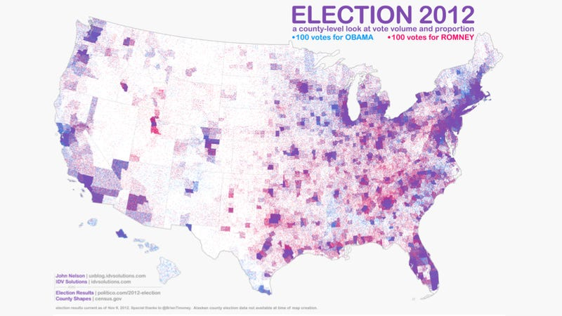 This Is The Most Accurate American Election Map Weve Seen Yet - Map of population density us election