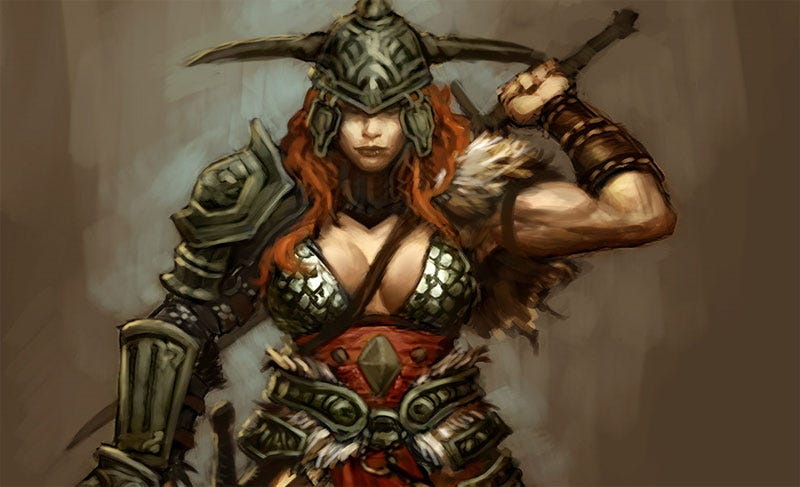 Illustration for article titled Diablo III's Female Barbarian Is Rather Well-Armored