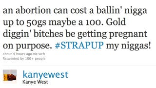 Illustration for article titled Kanye Tweets Warning About Abortions, Gold Diggers