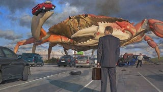 Illustration for article titled Concept Art Writing Prompt: A Giant Crab Invades the Office Parking Lot