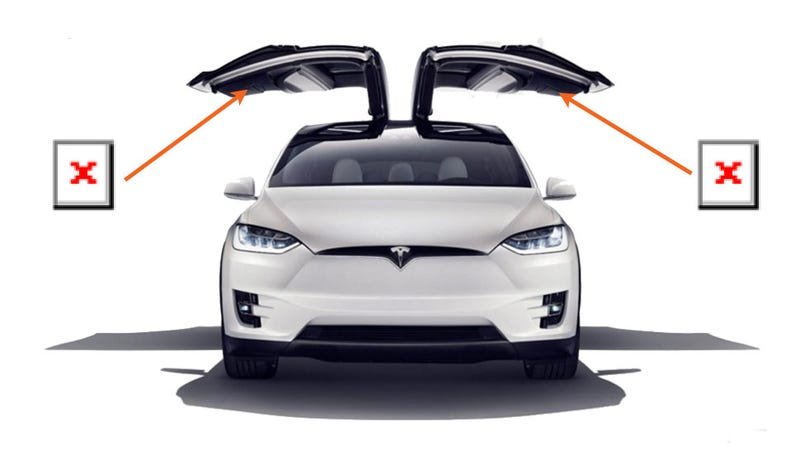 Illustration for article titled Did Tesla Quietly Remove A Safety Feature From The Model X's Falcon Doors?