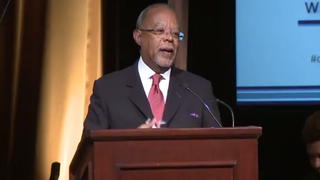 Henry Louis Gates Jr. during his acceptance speech after winning the Alfred I. duPont-Columbia University Award for his PBS series The African Americans: Many Rivers to CrossYouTube screenshot