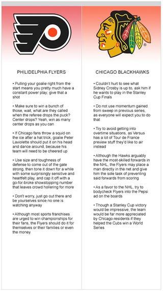 Illustration for article titled Philadelphia Flyers vs. Chicago Blackhawks