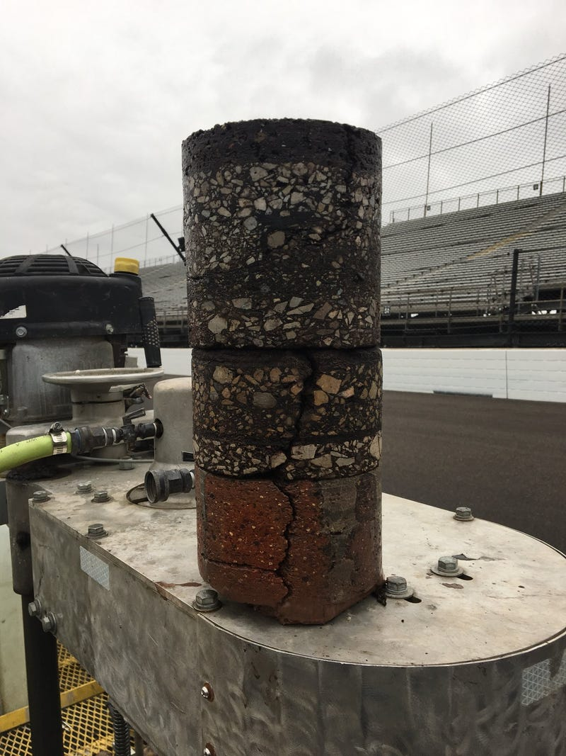 Illustration for article titled This is a Core Sample of Indianapolis Motor Speedway's Track