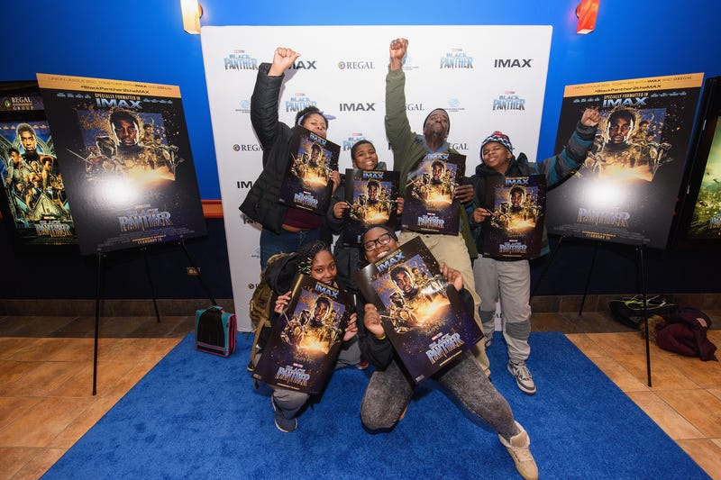 Union League Boys & Girls Club members received the celebrity treatment with concessions and more during an advance Imax screening of Black Panther, hosted by Imax, Regal Entertainment Group, Walt Disney Pictures and Marvel Studios, on Feb. 15, 2018, in Chicago. (Daniel Boczarski/Getty Images for Imax)