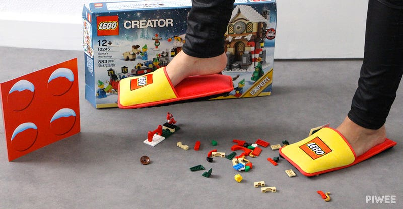 Illustration for article titled Lego Made Extra Cushy Slippers For Preventing Brick-Related Foot Injuries
