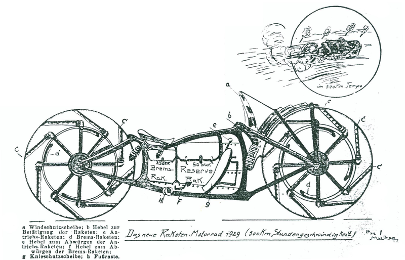 Illustration for article titled Behold, A Rocket-Powered Motorcycle From The Early 20th Century