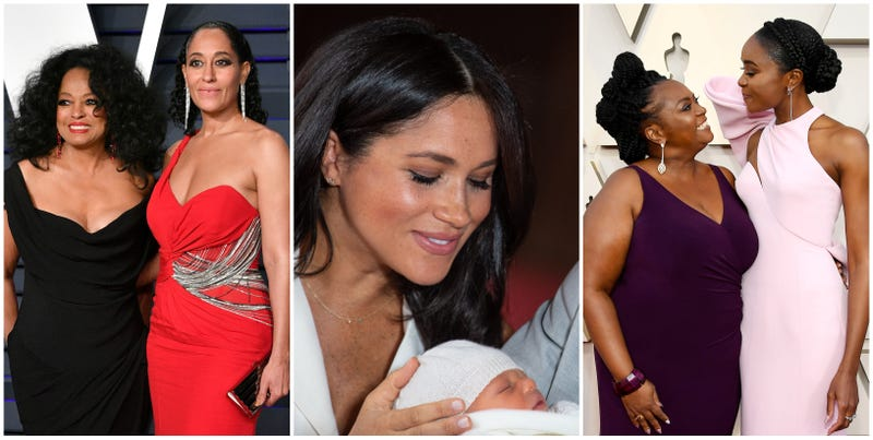 (l-r) Diana Ross (L) and Tracee Ellis Ross attend the 2019 Vanity Fair Oscar Party hosted by Radhika Jones on February 24, 2019 in Beverly Hills, California; Meghan, Duchess of Sussex, poses with her newborn son Archie Harrison Mountbatten-Windsor on May 8, 2019 in Windsor, England; Sandra Layne (l) and KiKi Layne attend the 91st Annual Academy Awards at Hollywood and Highland on February 24, 2019 in Hollywood, California.
