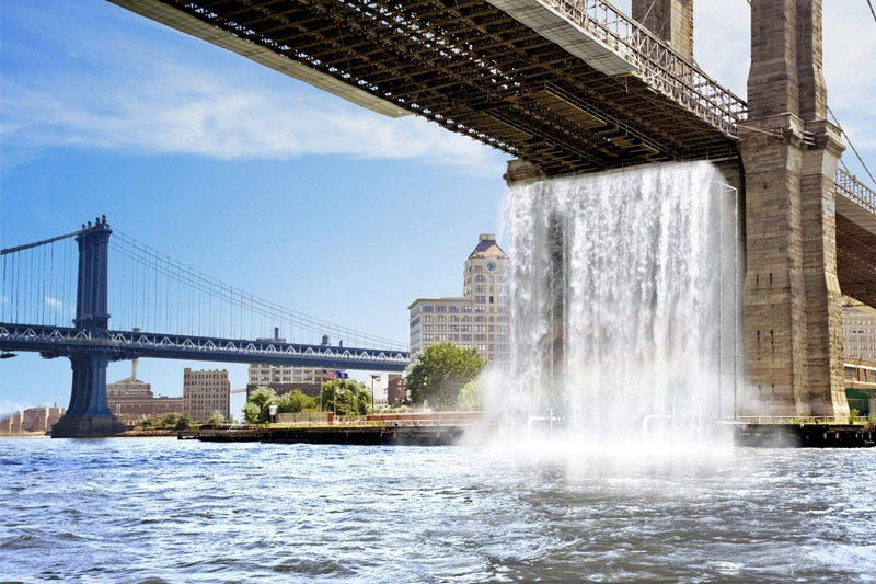 Illustration for article titled NYC Installing Gigantic 120-Foot Waterfalls Under the Brooklyn Bridge, in the East River