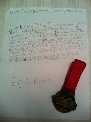 """Illustration for article titled Adorable Canadian Child Sends Medal To DQ'd Relay Team, Accurately Describes Canada As """"Cold"""""""