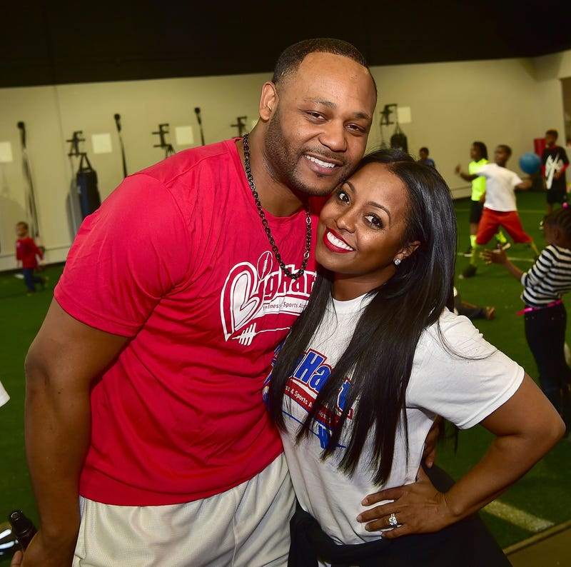 Ed Hartwell and Keshia Knight Pulliam attend the grand opening of his Big Hart Sports and Fitness Academy on Jan. 30, 2016, in Duluth, Ga. Paras Griffin/Getty Images