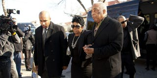 Carol Gray, mother of Kimani Gray, is escorted by City Councilman Charles Barron (right) (Ramin Talaie/Getty Images)