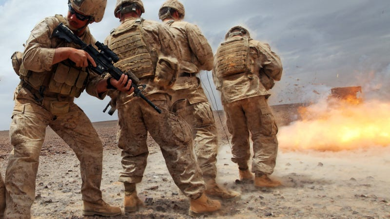 Illustration for article titled This Explosion Was So Damn Close That the Shockwave Dusted Off Some Marines