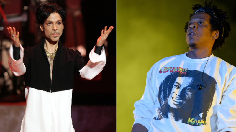 (L-R): Musician Prince is seen on stage at the 36th NAACP Image Awards on March 19, 2005 in Los Angeles, California. Prince was honored with the Vanguard Award. ; Jay-Z performs onstage at SOMETHING IN THE WATER - Day 2 on April 27, 2019 in Virginia Beach City.