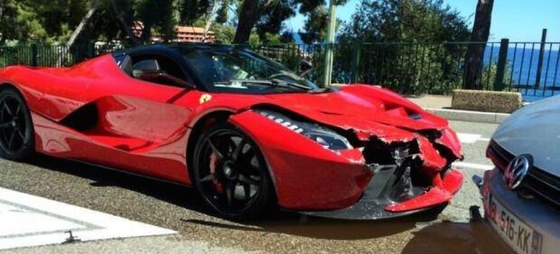 Illustration for article titled This Is The First Customer LaFerrari Crash