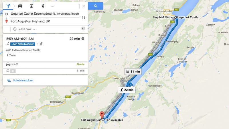 Illustration for article titled Google Maps Now Suggests Riding the Loch Ness Monster Instead of a Bus