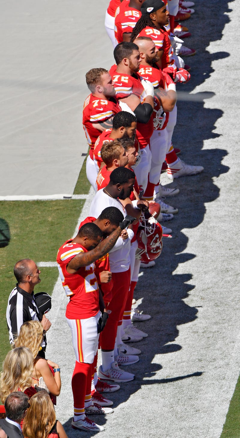 Kansas City Chiefs defensive back Marcus Peters raises his fist in the air as the national anthem plays before Sunday's football game against the San Diego Chargers on Sept. 11, 2016, at Arrowhead Stadium in Kansas City, Mo.John Sleezer/Kansas City Star/TNS via Getty Images