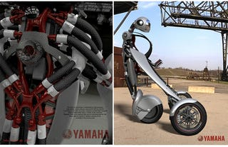Illustration for article titled Yamaha Branded Deus Ex Machina Motorcycle Exoskeleton: A Segway On Steroids