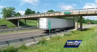 The overpass on Interstate 70 near Kansas City, Mo., where a mannequin wearing a Barack Obama mask was hung.YouTube