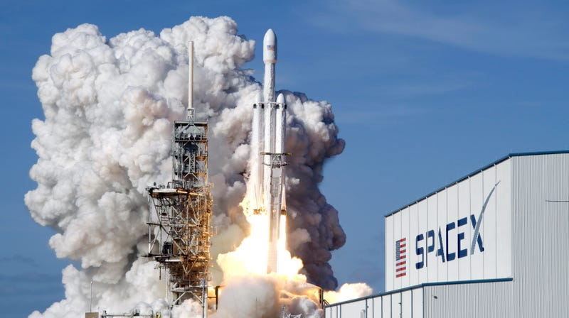 The inaugural launch of the SpaceX Falcon Heavy on February 6, 2018.