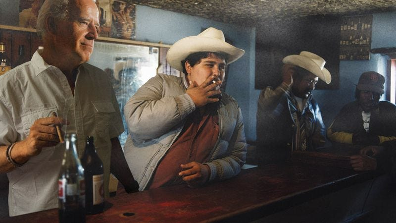 "Biden keeps a low profile in a cantina just over the border where people know him as ""Lt. Johnny Jones."""
